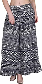 Fablab Women's/Girl's Printed Crepe A-Line wide leg divider Palazzo Trousers with Pocket & Inner Lining Combo Pack of 1(FLPLCRP1-5,Blue Print,Size-XXL)