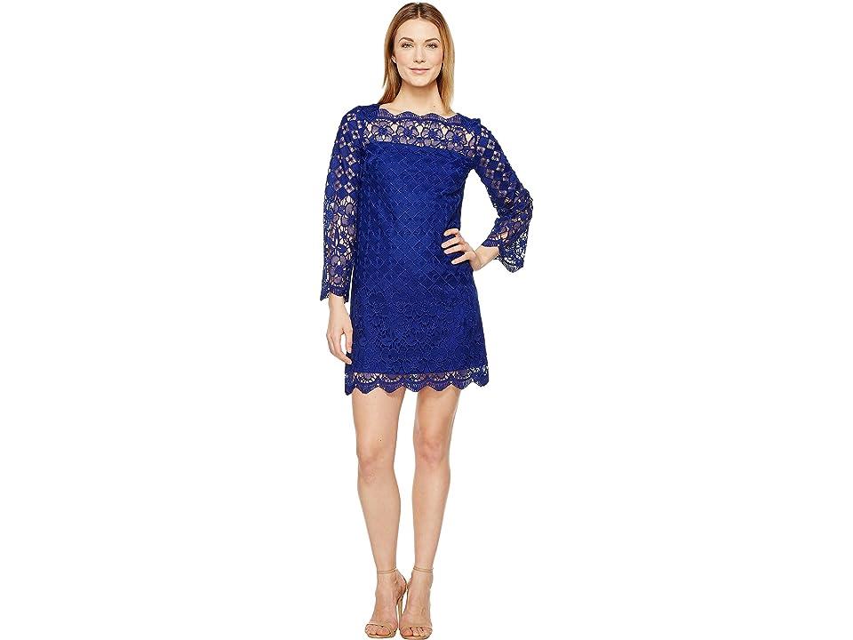 Adrianna Papell Florentine Trellis Shift Dress (Ultramarine) Women