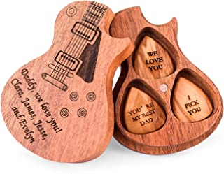 Wooden Guitar Picks Personalized Guitar Pick Box Case Holder Collector Custom Any Message 3pcs Picks Gifts for Guitar Banj...