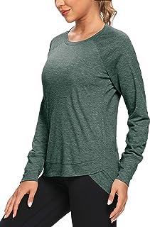 OJONIK Long Sleeve Workout Shirts for Women Sports Running Loose Fit Yoga Gym Workout Top