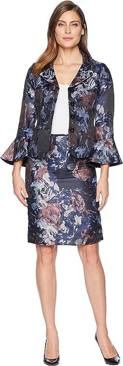 Floral Jacquard Portrait Collared Skirt Suit