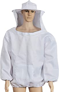 BEEPER Professional White Beekeeping Suit, Jacket, Pull Over, Smock with Self Supporting Veil for Beginner & Commercial Bee Keepers 2XL White