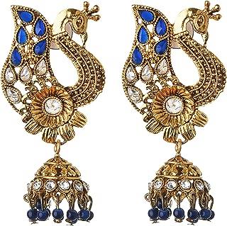 Ncollection's Indian Wedding Bridal Peacock Design Gold Plated Stud jhumki jhumka Earrings