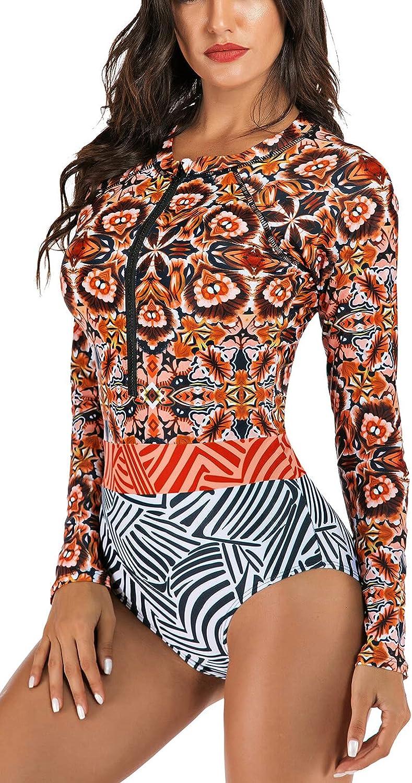 TASHEHE Women's UPF Max 66% OFF OFFicial store 50+ Long Sleeve Rashguard One Piec Short Boy