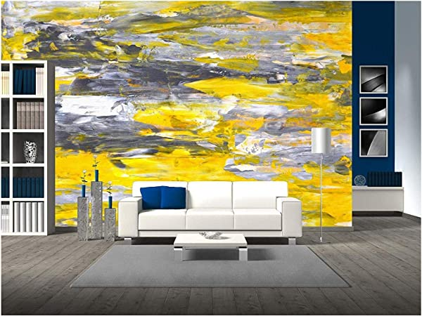 Wall26 Grey And Yellow Abstract Art Painting Removable Wall Mural Self Adhesive Large Wallpaper 100x144 Inches