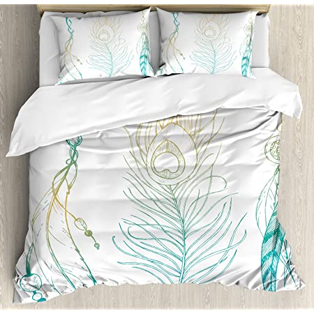 Ambesonne Peacock Duvet Cover Set, Aesthetic First Nations Feather and Peacock Tail Traditional Design Print, Decorative 3 Piece Bedding Set with 2 Pillow Shams, Queen Size, Mint Yellow