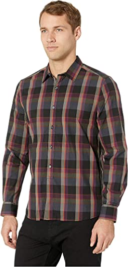 Long Sleeve Tonal Plaid Shirt