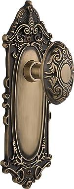"Nostalgic Warehouse Victorian Plate with Knob, Passage - 2.375"", Antique Brass (702080)"