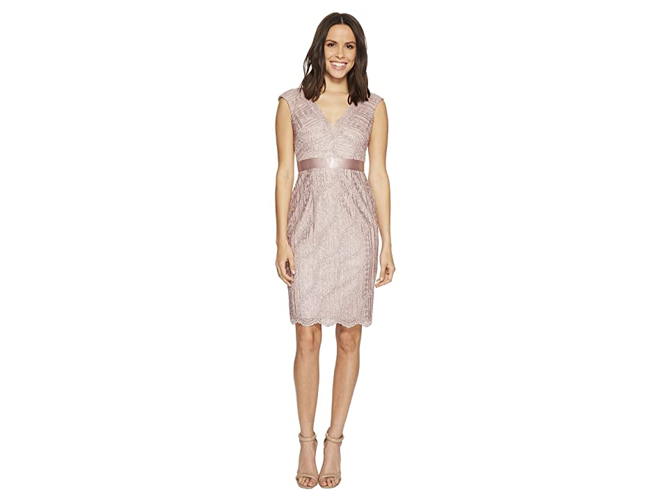 Adrianna Papell Cap Sleeve Lace Cocktail Dress (Silver Quartz) Women