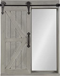Kate and Laurel Cates Wood Wall Storage Cabinet with Vanity Mirror and Sliding Barn Door, Rustic Gray