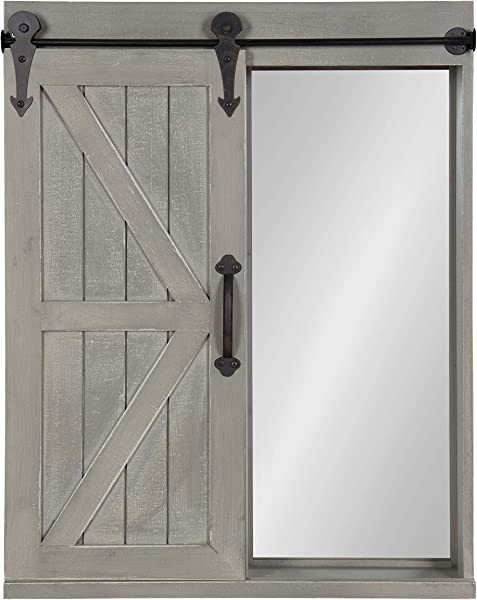 Kate And Laurel Cates Wood Wall Storage Cabinet With Vanity Mirror And Sliding Barn Door Rustic Gray