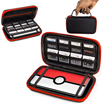 2DS XL Case, Orzly Carry Case for New Nintendo 2DS XL - Protective Hard Shell Portable Travel Case Pouch for New 2DS XL Console with Slots for Games & Zip Pocket - RED on Black