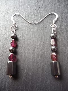 Red Garnet and Hematite 925 Sterling Silver Earrings Gemstone Base Root Chakra Gift