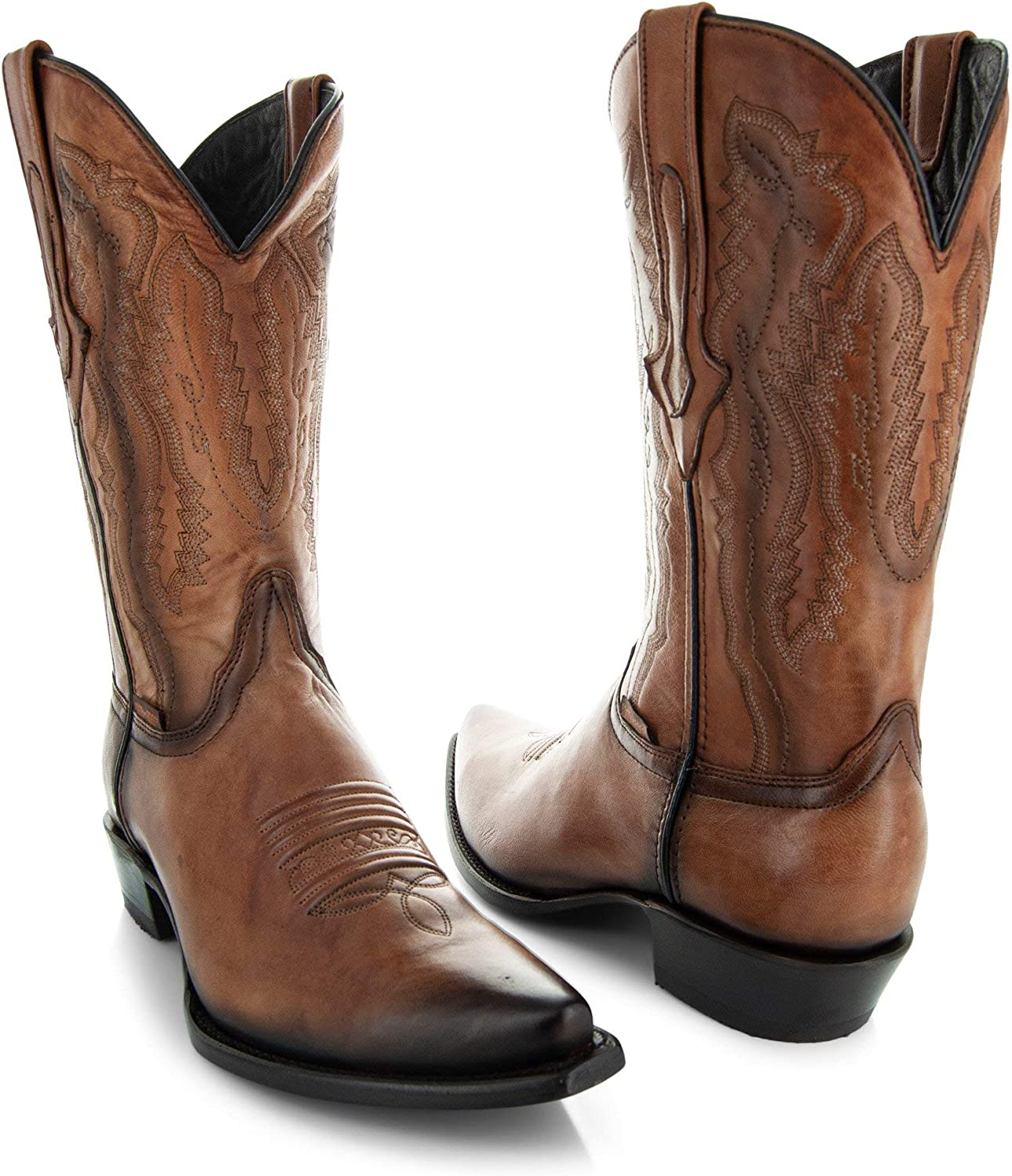   Soto Boots Mens Burnished Snip Toe Cowboy Boots H50030   Western