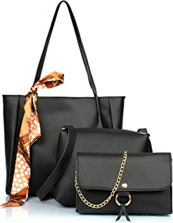 Mammon Women's PU Leather Black Handbag Combo (3ribn-blk)