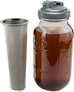 Cold Brew Coffee Maker & Tea Infuser Kit - 2 Quart Glass Ball Mason Jar, reCAP Pour Spout, and Stainless Steel Filter