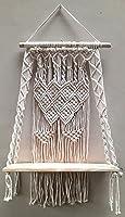 pepme Decorative Wood Wall Hanging Shelf Cotton Macrame Tapestry Handmade Floating Shelf Woven Rope for Bedroom,...
