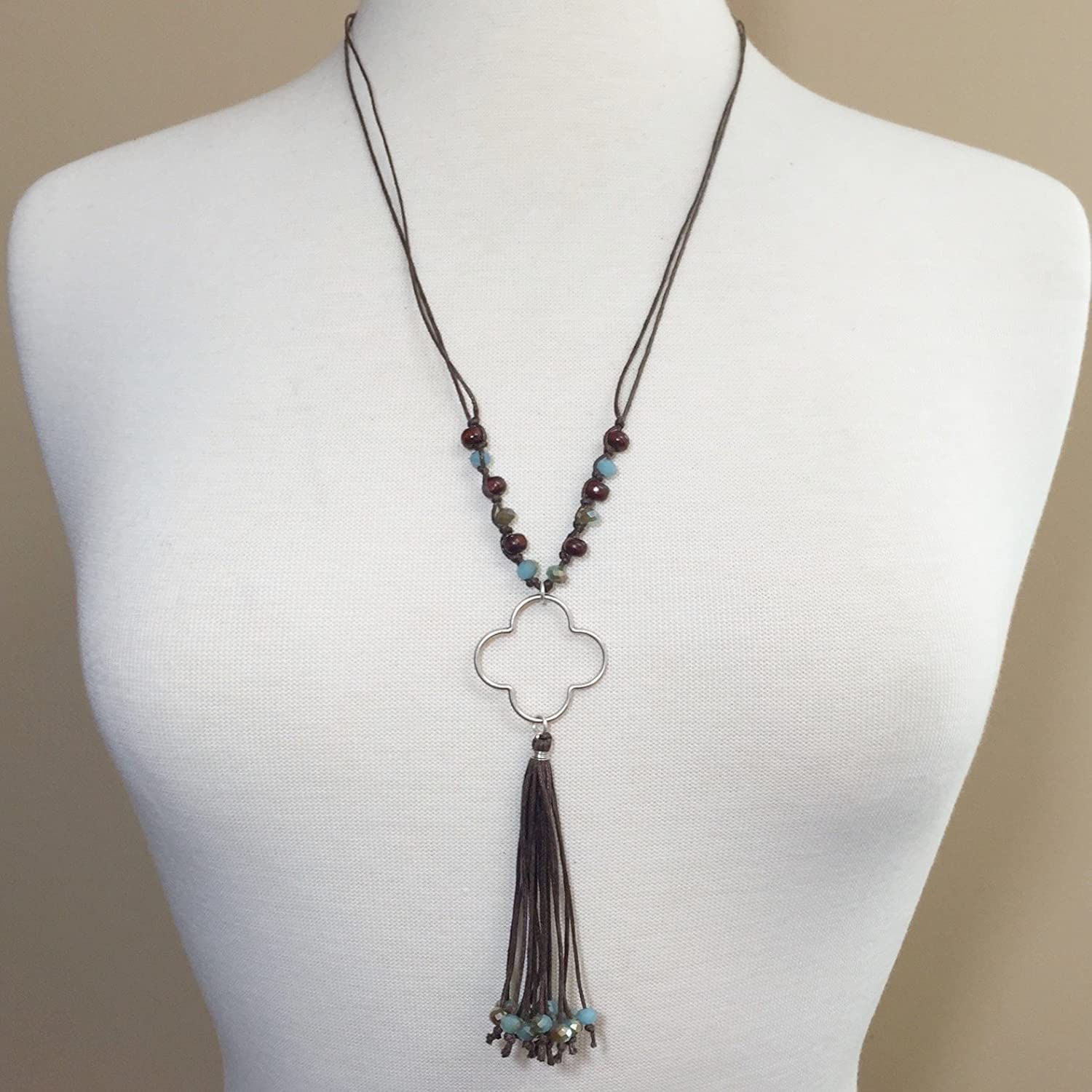 Gold /& Silver-tone Tassel and Clover Tassel necklaces