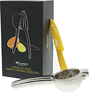 Lemon Squeezer Bundle Superior Quality Manual Citrus Orange Juicer W/Free Ceramic Knife. 304