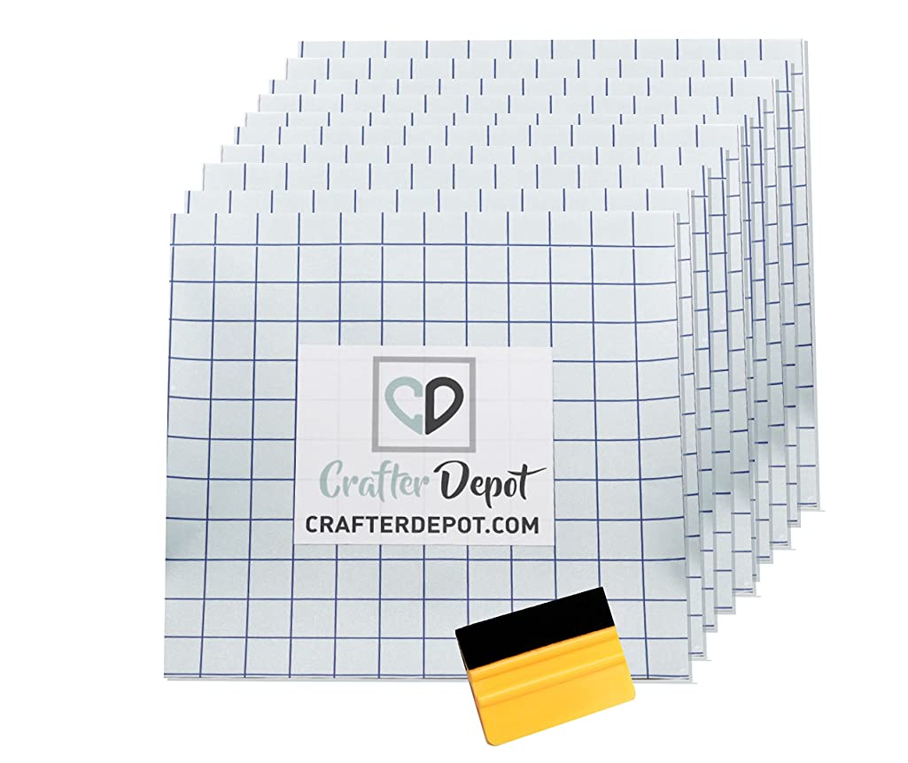 Clear Transfer Tape with Grid - 10 Sheets 12 x 12 inches | Easy to Use Alignment Squares Indoor Outdoor Vinyl Application Paper | Cricut Silhouette Cameo Expression Decal Sticker | Bonus Squeegee
