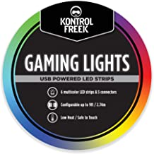 KontrolFreek Gaming Lights: LED Strip Lights, 9 FT USB Powered with Controller, 3M Adhesive for TV, Console, PC, Wall