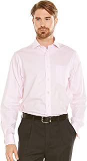 Savile Row Men's Non-Iron Pink Twill Classic Fit Shirt Single Or Double Cuff
