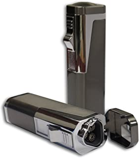 Prestige Import Group Typhoon Triple Flame Torch Lighter with Punch Cutter - Color: Gun Metal