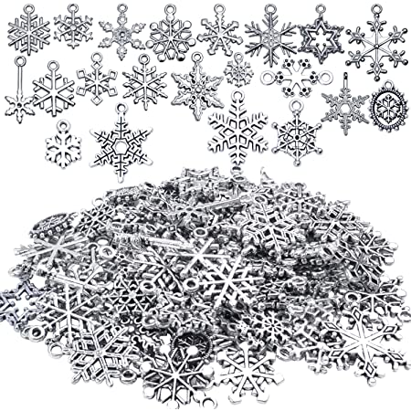 Antique Silver Christmas Snowflake Charms Pendants for Crafting about 80-90pcs Snowflake Collection Jewelry Findings Making Accessory For DIY Necklace Bracelet HK27 Snowflake Charm-100g