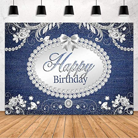 DORCEV 8x6ft Denim and Diamonds Birthday Party Backdrop Silver Glitter High Heels Pearl Crystal Diamond Lady Queen Theme Birthday Party Photography Background Cake Table Banner Decor