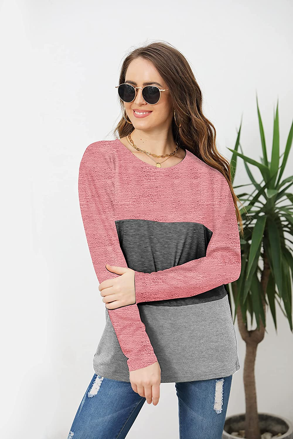 Womens Long Sleeve Graphic Print Shirt Loose Fit Color Block Tunic Tops Sweatshirts Blouses