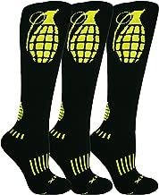 MOXY Socks THE Ultimate Grenade Black and Yellow Knee-High Fitness Deadlift Socks 3-Pack