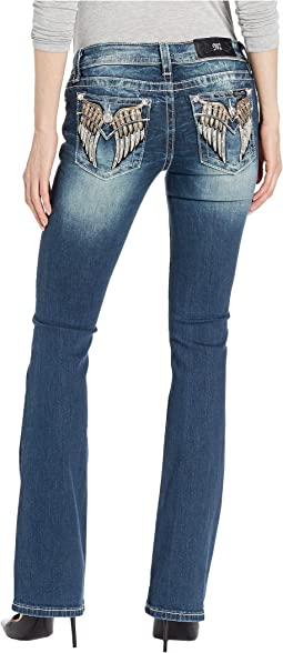 Wing Embellished Bootcut Jeans in Dark Blue