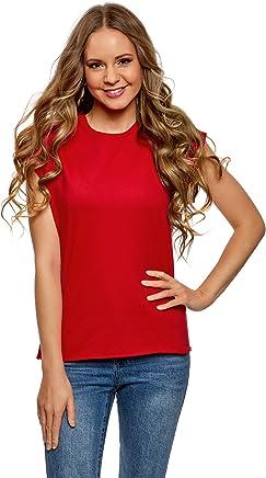 oodji Ultra Femme T-Shirt Basique en Coton à Ourlet Brut
