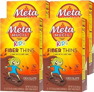 Metamucil Kids Fiber Thins, Chocolate Flavored Dietary Fiber Supplement Snack with Psyllium Husk, 12 Servings (Pack of 4)