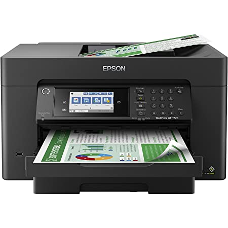 """Epson WorkForce Pro WF-7820 Wireless All-in-One Wide-format Printer with Auto 2-sided Print up to 13"""" x 19"""", Copy, Scan and Fax, 50-page ADF, 250-sheet Paper Capacity, 4.3"""" screen, Works with Alexa"""
