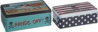 Premier Housewares Kitchen Storage Tin, Rectangular, Multi-Colour, Set of 2 - Pirate