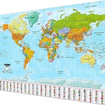 Cartina Geografica Mondo Poster.Idolo Cospirazione Ossido Cartina Del Mondo Fisica Amazon Agingtheafricanlion Org