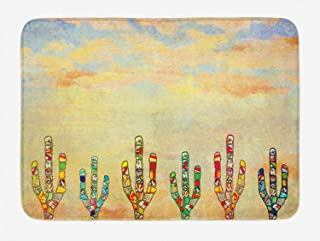 Lunarable Mexican Theme Bath Mat, Ornamented Colorful Cacti Drawings in a Southwestern Style Vintage Pastel Sky, Plush Bathroom Decor Mat with Non Slip Backing, 29.5