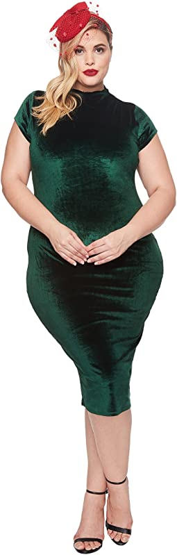 Unique Vintage - Plus Size Velvet Holly Wiggle Dress