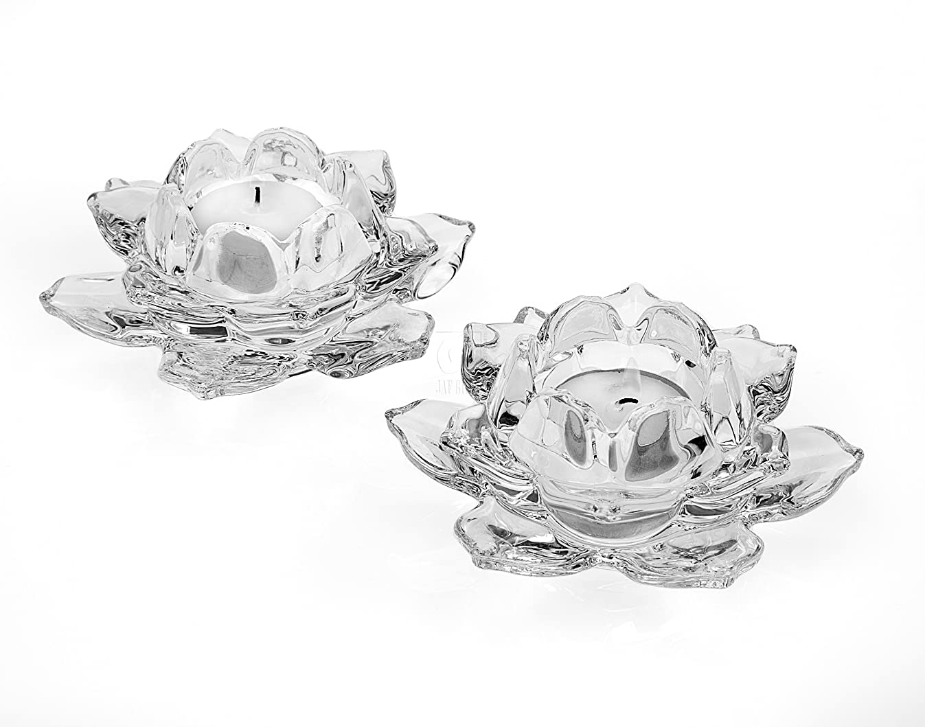 Shannon by Godinger Lotus Crystal Votive Pair Candle Holders, Set of 2