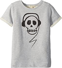 Skull with Headphones Short Sleeve Sweatshirt (Toddler/Little Kids/Big Kids)