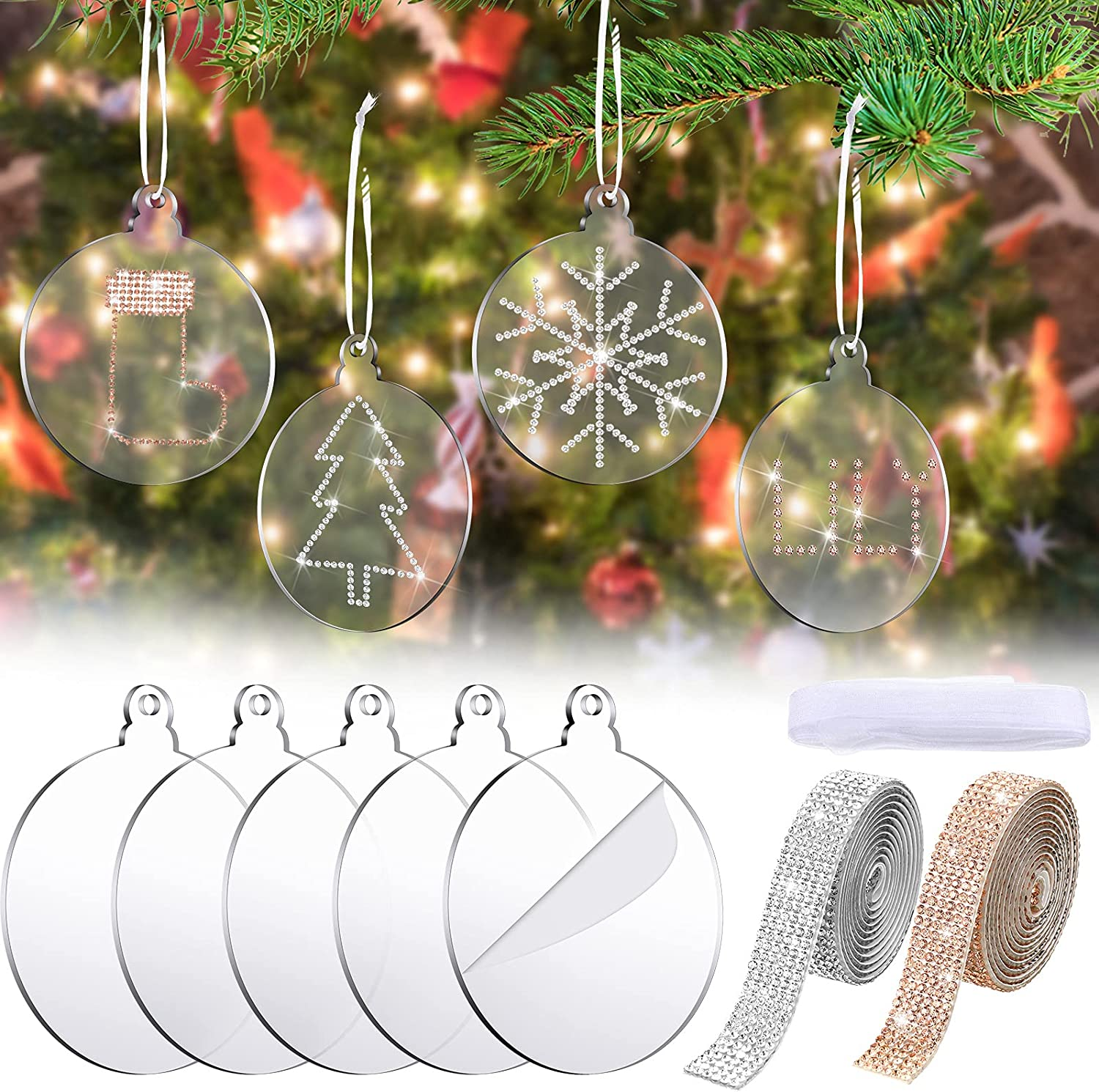 27 Pieces 3.54 Inch Clear Round Acrylic Discs with Holes Christmas Clear Blank Circle Unfinished Hanging Ornament Silver Rhinestone Stickers Christmas Chiffon White Ribbon for Christmas DIY Decoration
