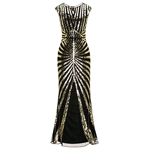 Metme Women's 1920s Prom Fringed Sequin Long Flapper Roaring Gatsby Dress for Party