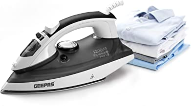 Geepas 2400W Steam Iron for Crisp Ironed Clothes | Ceramic Soleplate, Temperature Adjustment & Auto-Off | Wet & Dry Ironin...