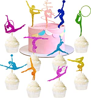 55 Pieces Glitter Colorful Gymnastics Birthday Decorations Cake Toppers Cupcake Picks for Gymnast Themed Girl Cake Topper ...