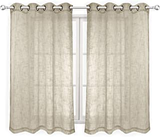 VOILYBIRD Palma Linen Look Semi Sheer Curtains for Bedroom 63 Inch Length Draperies & Curtains Bronze Grommet (52''W x 63''L, 2 Panels, Beige)