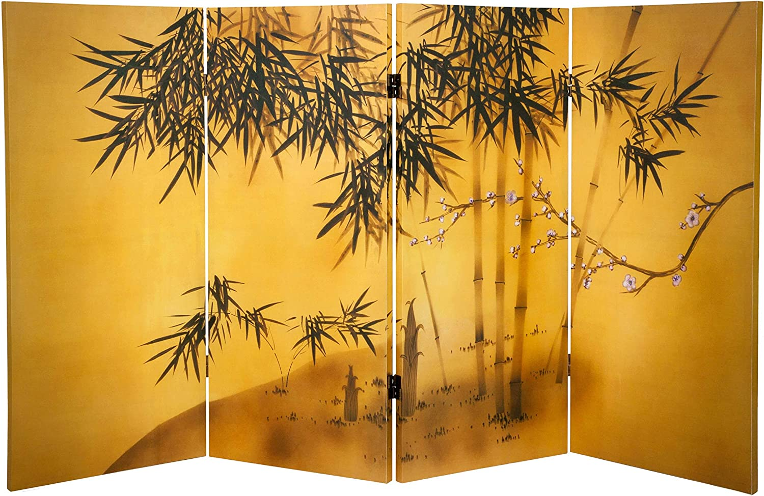 Oriental Furniture 3 ft. Tall Double Tree Max NEW before selling ☆ 61% OFF Canvas Bamboo Ro Sided