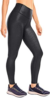 CRZ YOGA Women's Fashion Coated Faux Leather Legging High Waist Pants Workout Tights -25 Inches