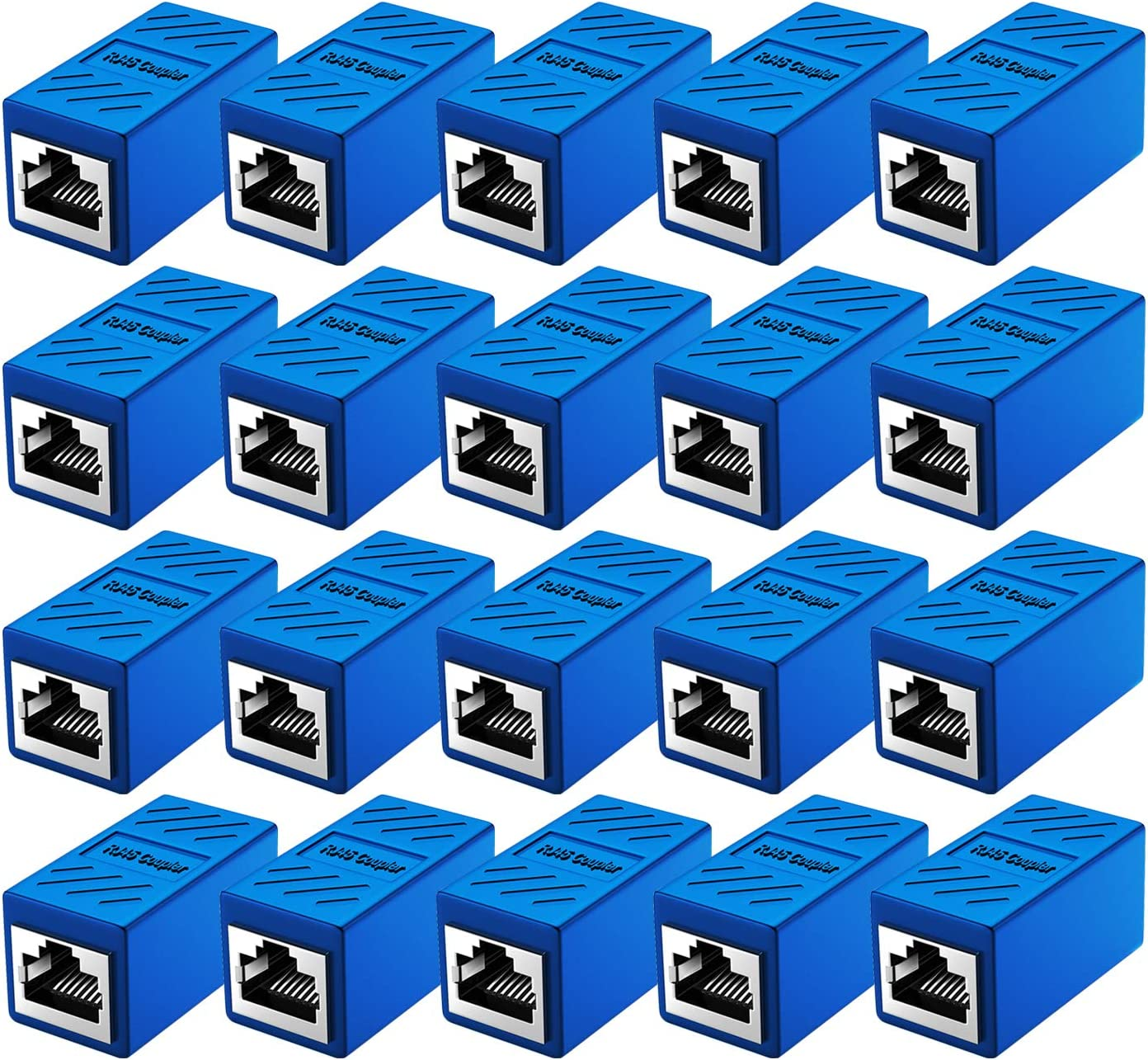 RJ45 Coupler Cat7 Cat6 Cat5e Ethernet Cable Extender Adapter LAN Connector in Line Coupler Female to Female Blue 5 Pack