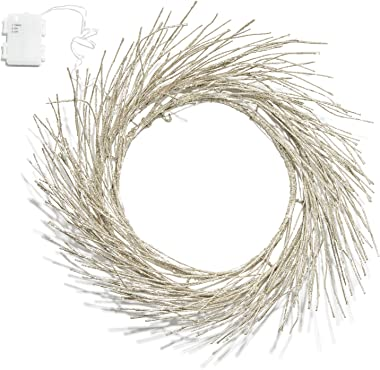 "LampLust 23"" Gold Glitter Pre-lit Wreath - 42 Warm White Sparkling LED Lights, Bendable Branches, Battery Operated, Timer Included"